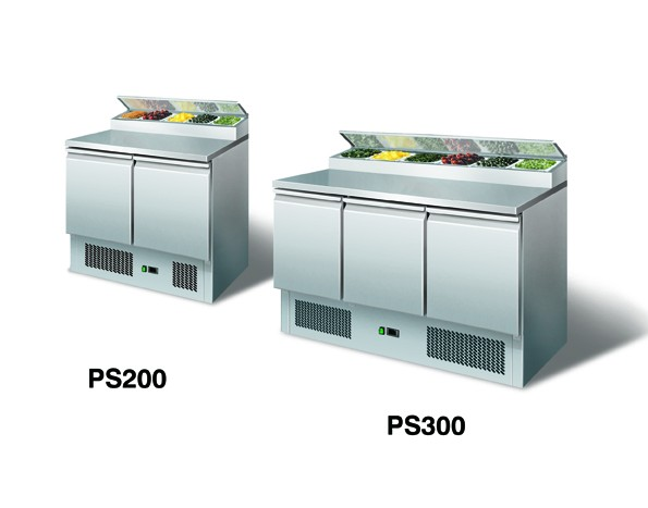 GastroXtrem Kühltisch PS200 - Saladette mit Kühlaufsatz 5 x GN 1/3 für die Gastronomie