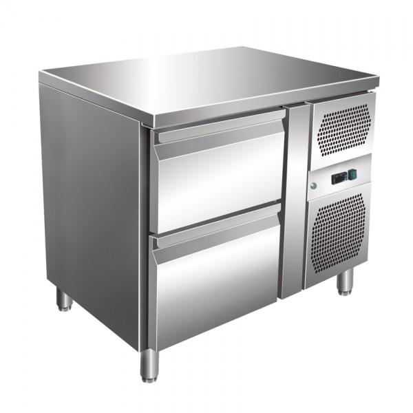 GastroXtrem Kühltisch, 2 Laden, Voll-Edelstahl, Umluft für die Gastronomie