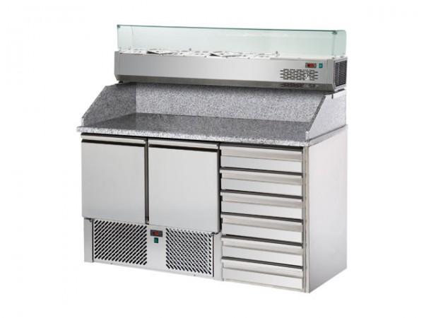 GastroXtrem Pizzakühltisch Master S2PZ, 2 Türen, Aufsatzkühlung 5 x GN 1/4, 6 x Züge