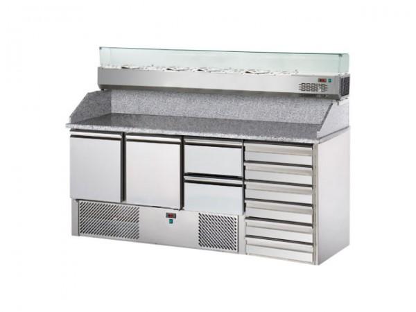 GastroXtrem Pizzakühltisch Master S3PZ/2, 2 Türen + 2 Laden, Aufsatzkühlung 8 x GN 1/4, 6 x Züge