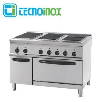 Gastronomie-Elektroherd 29,3 kW Tecnoinox PF12E9 mit 6 eckigen Platten und Backofen GN 2/1