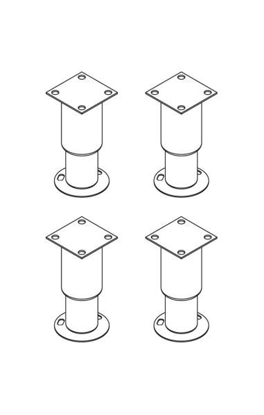 Füße-Kit mit Bodenflansch für Untergestelle