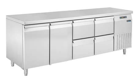 COOL by Nordcap Kühltisch KT-2190-2T-4Z, 2 Türen + 4 Laden, Edelstahl, Umluft für die Gastronomie