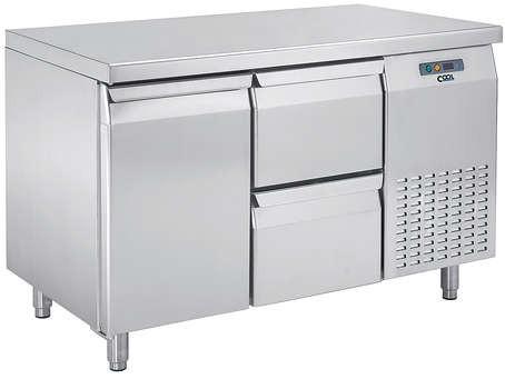 COOL by Nordcap Kühltisch KT-1320-1T-2Z, 1 Tür + 2 Laden, Edelstahl, Umluft für die Gastronomie