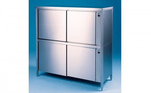 Durchreiche Wärme-Hochschrank / Geschirrschrank 2-etagig, Tiefe 700mm, Schiebetüren beidseitig