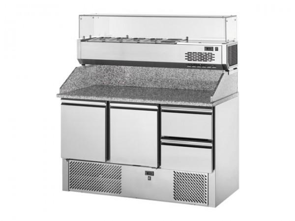 GastroXtrem Pizzakühltisch Master S3TOP2, 2 Türen + 2 Laden, Aufsatzkühlung 5 x GN 1/4