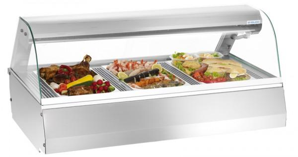 GastroXtrem Kühlvitrine / Kalte Theke 3 x GN 1/1 mit rundem Glasaufbau für die Gastronomie