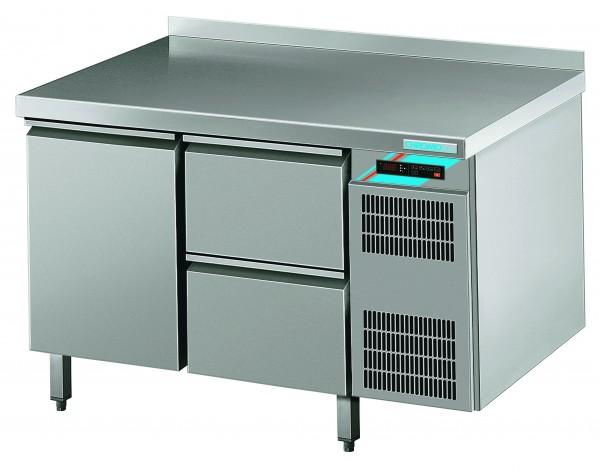 CHROMOfair / CHROMOnorm Kühltisch, 1 Tür + 2 Laden, Voll-Edelstahl, Umluft für die Gastronomie