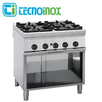 Gaskochfeld 4-flammig 29 kW Tecnoinox PCG8FG9 - Gastronomie-Gaskochfläche