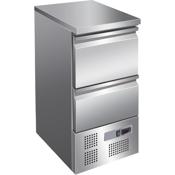 GastroXtrem Ecoline-Kühltisch, 2 Auszüge, Volledelstahl, Umluft