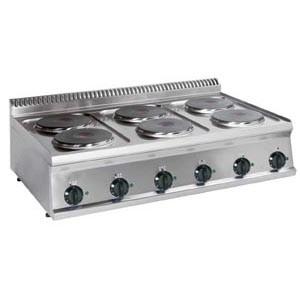 Tecnoinox Kochfläche, Elektro, 6 runde Platten, 12kW