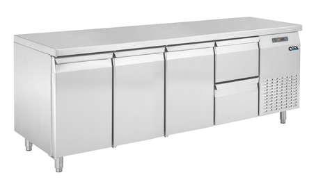 COOL by Nordcap Kühltisch KT-2190-3T-2Z, 3 Türen + 2 Laden, Edelstahl, Umluft für die Gastronomie