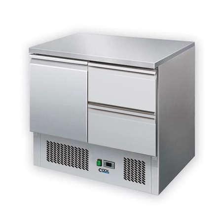 COOL by Nordcap Kühltisch KT-1T-2Z, 1 Tür + 2 Laden, Edelstahl, Umluft für die Gastronomie