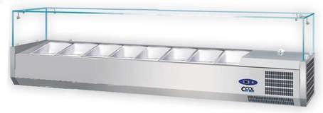 COOL by Nordcap Kühlaufsatzvitrine 8 x GN 1/3, Gastro Kühlvitrine mit Glasaufbau