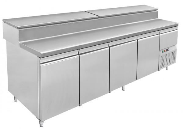 Amerikanischer Gastro Pizzakühltisch, 4 Türen, Kühlaufsatz 14 x GN 1/3, Edelstahl