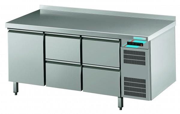 CHROMOfair / CHROMOnorm Kühltisch, 1 Türen + 4 Laden, Voll-Edelstahl, Umluft für die Gastronomie