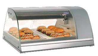 GastroXtrem Kühlvitrine / Kalte Theke 2 x GN 1/1 quer, runder Glasaufbau für die Gastronomie