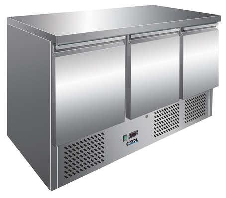 COOL by Nordcap Kühltisch KT-9-3T, 3 Türen, Edelstahl, Umluft für die Gastronomie