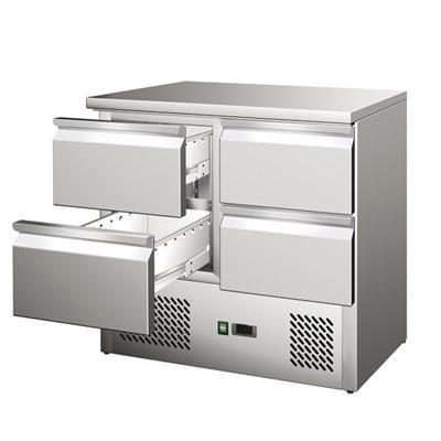 GastroXtrem Kühltisch Ecoline IV, 4 Laden, Edelstahl, Umluft für die Gastronomie