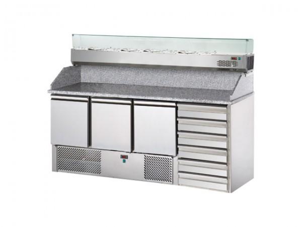 GastroXtrem Pizzakühltisch Master S3PZ, 3 Türen, Aufsatzkühlung 8 x GN 1/4, 6 x Züge