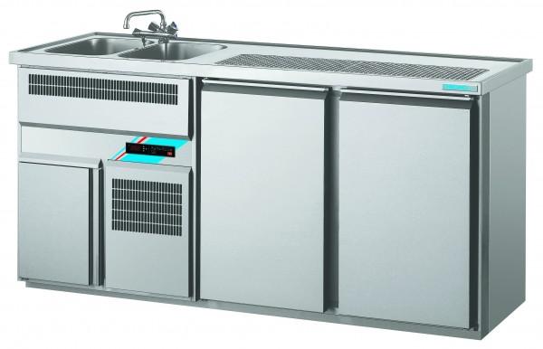CHROMOfair / CHROMOnorm Getränkekühltheke 2 Becken mit 2 Türen, Voll-Edelstahl