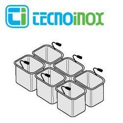 Tecnoinox Nudelkorb-Set 6 x GN 1/6 x 200 für 40-Liter-Becken der Gastronomiegeräte-Serie Profi 900