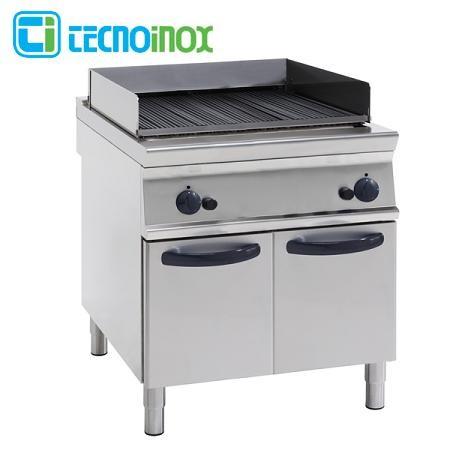 Gas-Vaporgrill Tecnoinox GD8FG9 mit 2 Heizzonen / Gastronomie-Dampfgrill Serie Profi 900