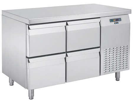 COOL by Nordcap Kühltisch KT-1320-4Z, 4 Laden, Edelstahl, Umluft für die Gastronomie
