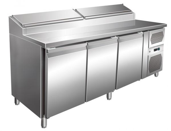 Amerikanischer Gastro Pizzakühltisch, 3 Türen, Kühlaufsatz 8 x GN 1/3, für GN 1/1, Edelstahl