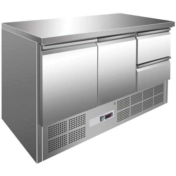 GastroXtrem Kühltisch 2 Türen + 2 Laden