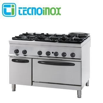 Gastronomie-Gasherd 6-flammig 47 kW Tecnoinox PFG12GG9 mit Gasbackofen GN 2/1