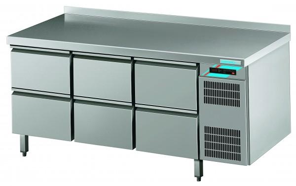 CHROMOfair / CHROMOnorm Kühltisch, 6 Laden, Voll-Edelstahl, Umluft für die Gastronomie