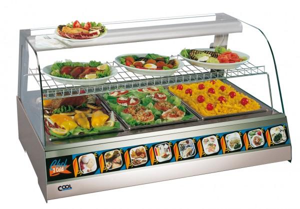 COOL by Nordcap Auftisch-Kühlvitrine / Kalte Theke 3 x GN 1/1 , runder Glasaufbau für die Gastronomi