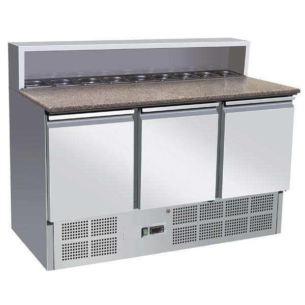 GastroXtrem Edelstahl Pizzakühltisch Ecoline II, 3 Türen für 8 x GN 1/6, für Gastro & Großküche