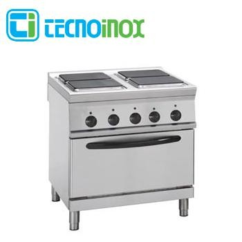 Gastronomie-Elektroherd 4 quadratische Platten und Backofen GN 2/1 Tecnoinox PF8E9