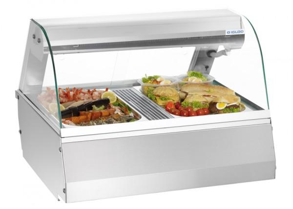 GastroXtrem Kühlvitrine / Kalte Theke 2 x GN 1/1 mit rundem Glasaufbau für die Gastronomie