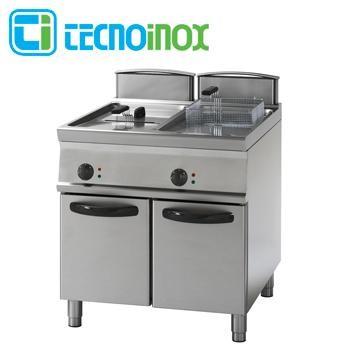 Gas-Fritteuse Tecnoinox 2x21 Liter 38 kW FRV81FG9 Gastronomie-Friteuse Profi 900