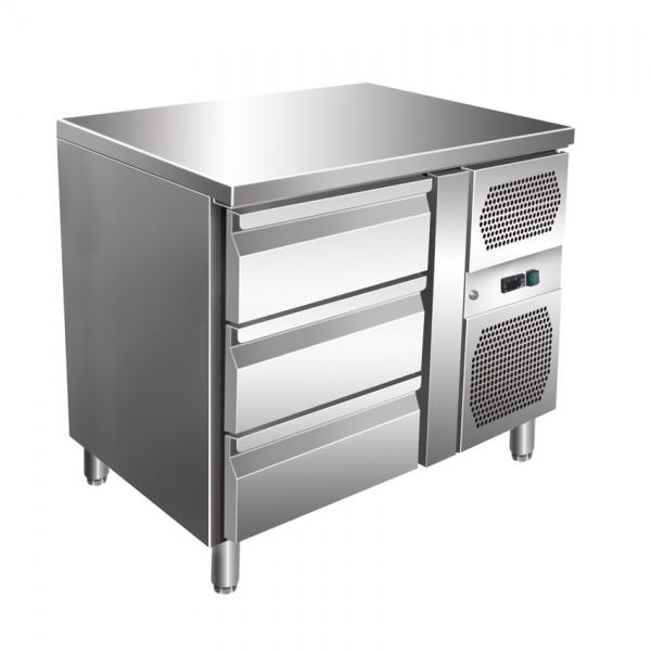 GastroXtrem Kühltisch, 3 Laden, Voll-Edelstahl, Umluft für die Gastronomie