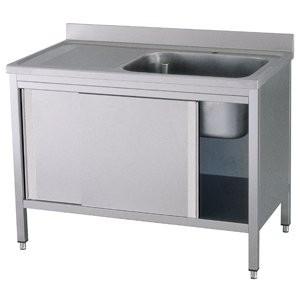 edelstahl sp lschrank 120 x 70 x 90 cm 1 becken rechts mit aufkantung gastro sp ltisch f r. Black Bedroom Furniture Sets. Home Design Ideas