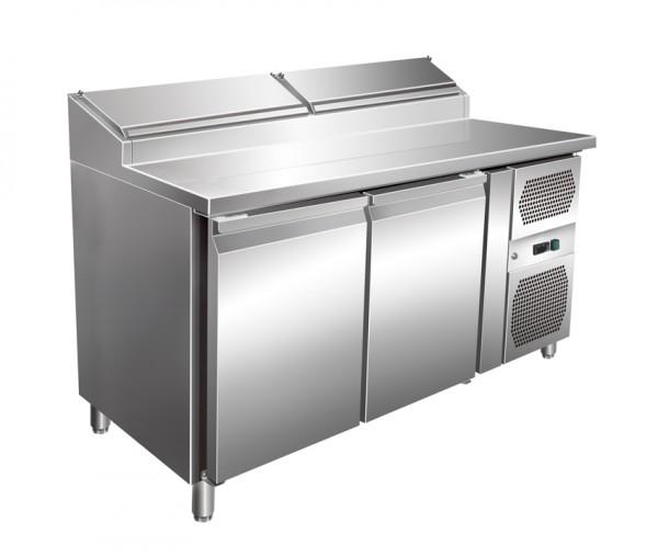 Amerikanischer Gastro Pizzakühltisch, 2 Türen, Kühlaufsatz 6 x GN 1/3, für GN 1/1, Edelstahl