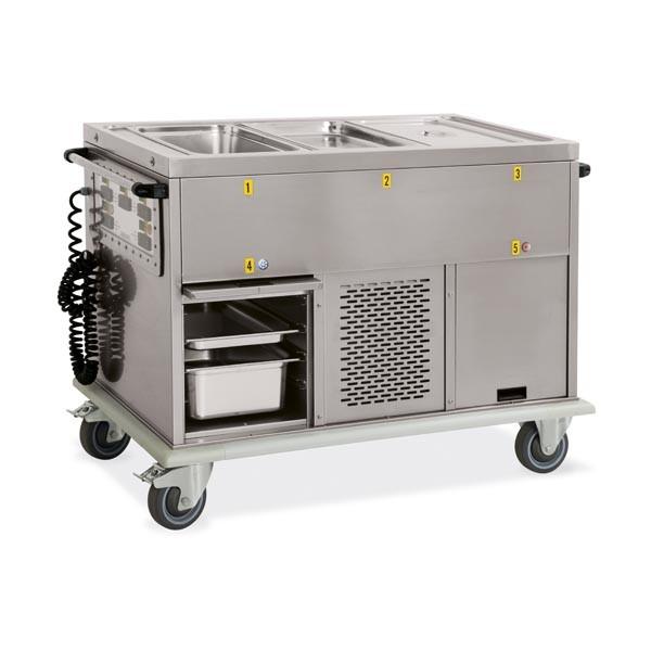 Bain-Marie-Wagen, 2 x GN 1/1 mit Unterbau gekühlt