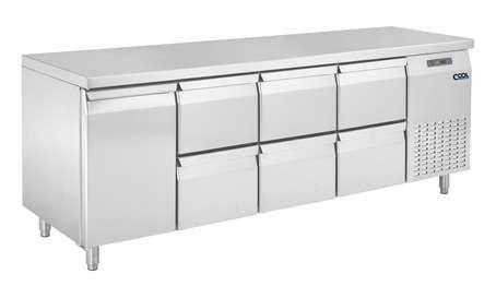 COOL by Nordcap Kühltisch KT-2190-1T-6Z, 1 Tür + 6 Laden, Edelstahl, Umluft für die Gastronomie