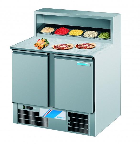 CHROMOfair / CHROMOnorm Pizzakühltisch, 2 Türen für 5 x GN 1/6, Voll-Edelstahl