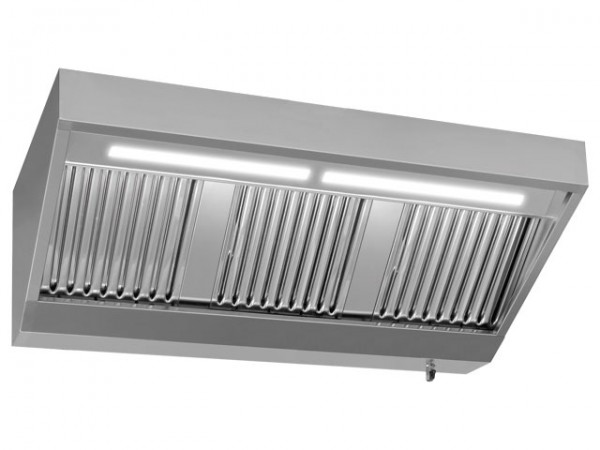 Wandhaube, 3000x900mm, ohne Motor, mit Beleuchtung 3.600m³/h, 230V