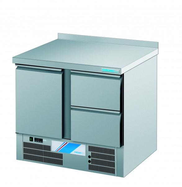 CHROMOfair / CHROMOnorm Kühltisch, 1 Tür + 2 Laden, Voll-Edelstahl für die Gastronomie