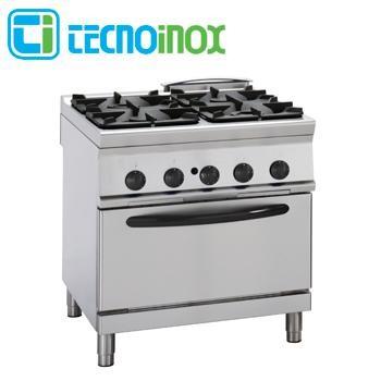 Gastronomie-Gasherd 4-flammig 36 kW Tecnoinox PFG8GG9 mit Gasbackofen GN 2/1