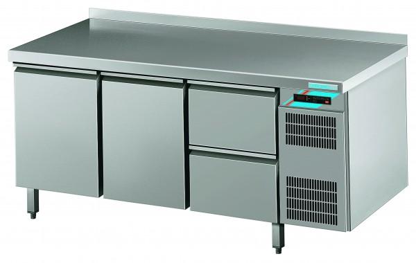 CHROMOfair / CHROMOnorm Kühltisch, 2 Türen + 2 Laden, Voll-Edelstahl, Umluft für die Gastronomie